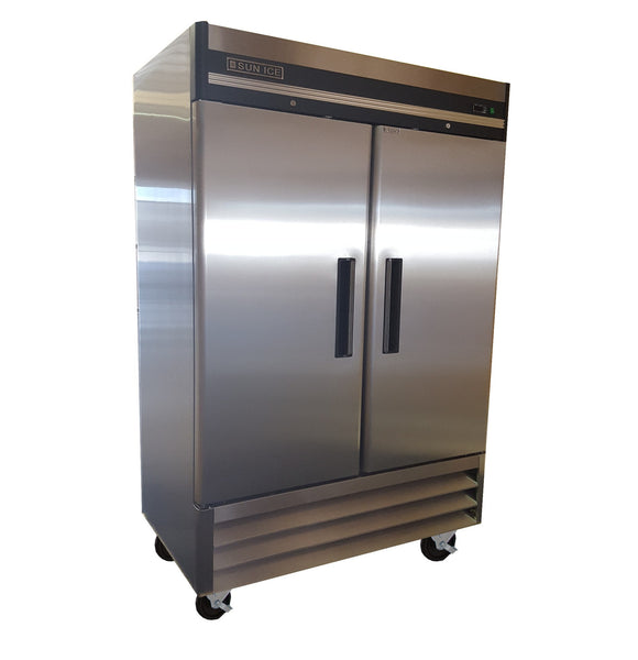 Sun Ice Commercial 49cft Stainless Steel 2 Door Reach In Freezer SUNRF46