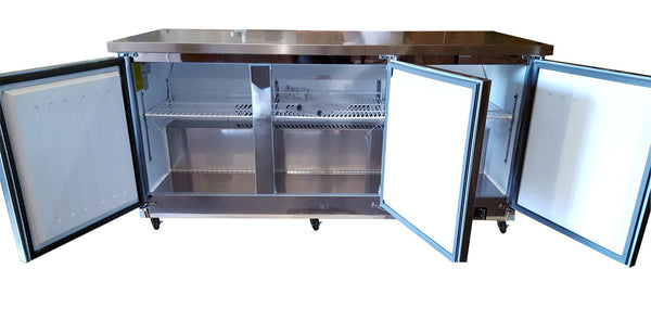 "Sun Ice Commercial 72"" Undercounter 3 Door Reach In Refrigerator Cooler SUNUR-72"