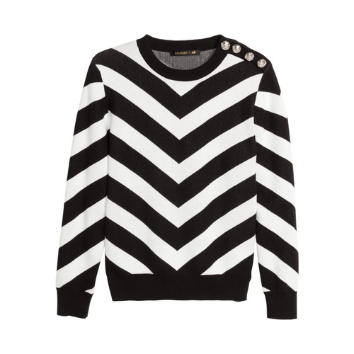 Balmain x H&M Jaquard Knit Cotton Sweater XS