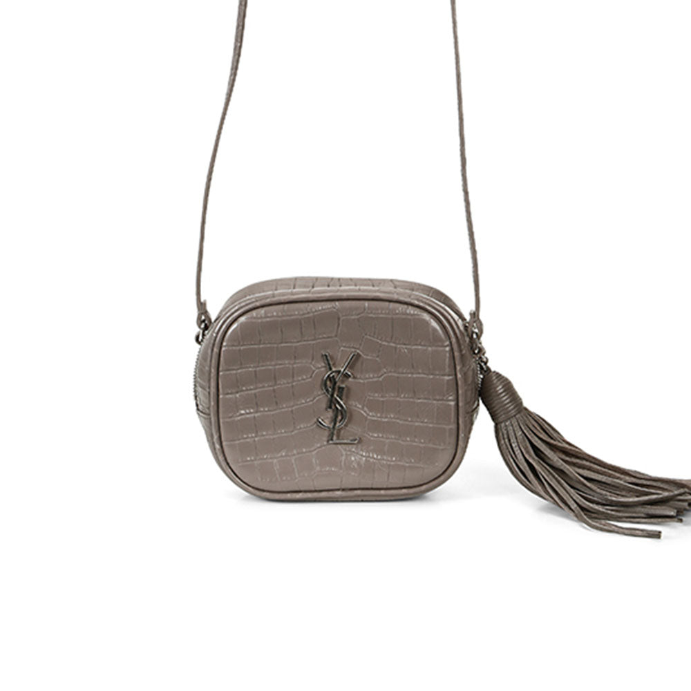 Saint Laurent Croc Monogramme Blogger Bag