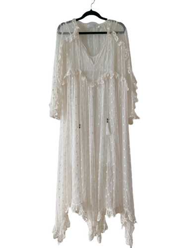 Zimmermann boheme-stil hvit maxi dress XS