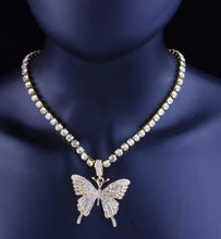 Load image into Gallery viewer, Butterfly rhinestone necklace  (jewelry)
