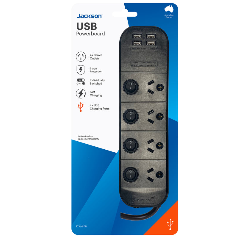 USB Powerboard- Switched 4 Outlet