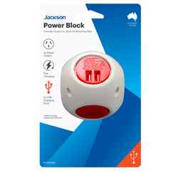 Power Block- 4 Outlet 2x USB Ports (Red)