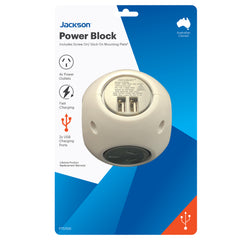 Power Block- 4 Outlet 2x USB Ports