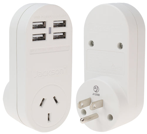 Outbound 4x USB Fast Charging Travel Adaptor- USA