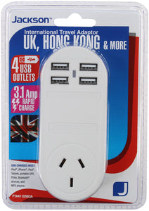 Outbound 4x USB Fast Charging Travel Adaptor- UK