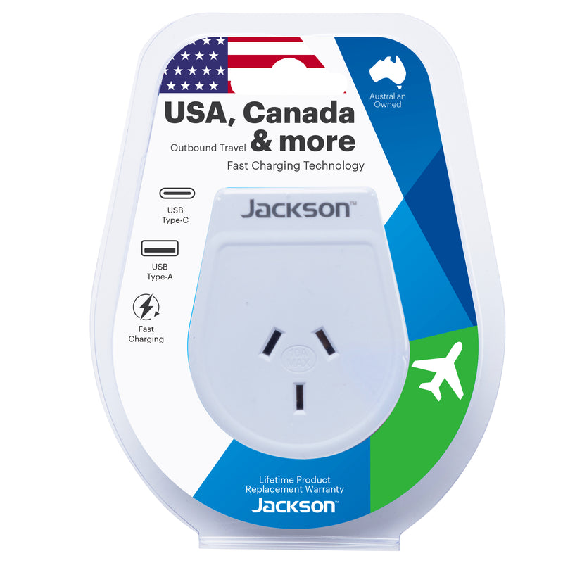 Outbound Slim USB-A & C Travel Adaptor- USA