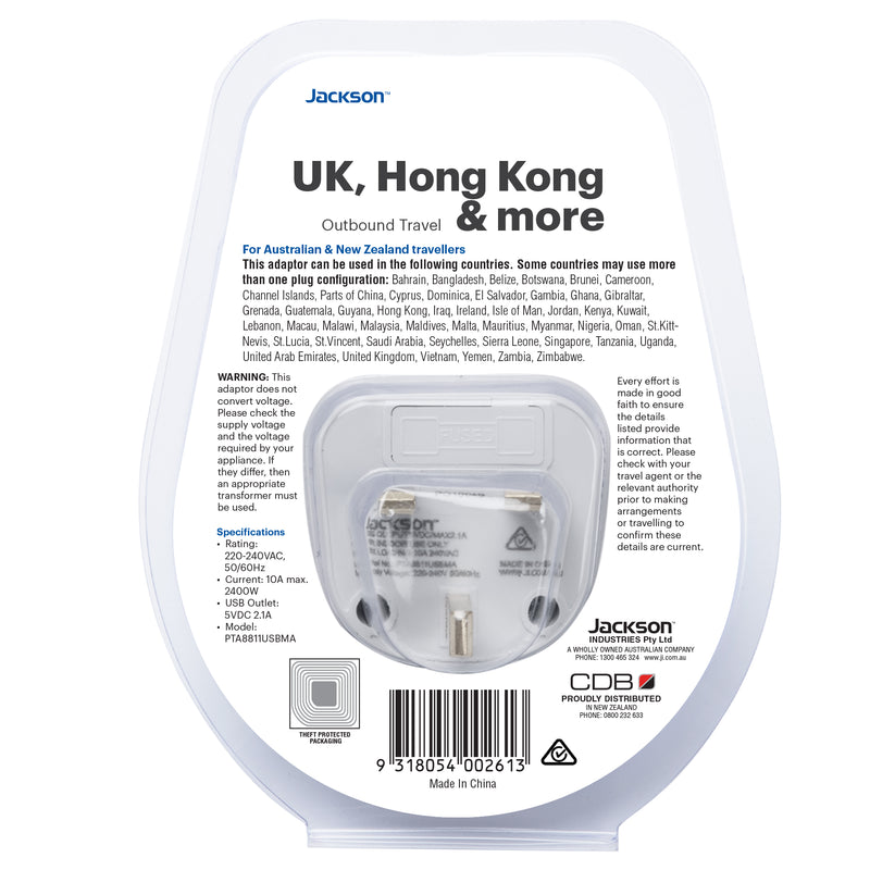 Outbound Slim USB Travel Adaptor- UK & Hong Kong
