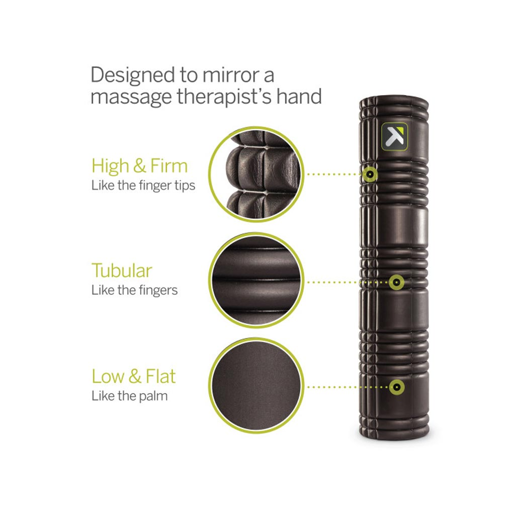 TriggerPoint GRID Foam Roller, Massage therapy tools, hand rollers, massage tool, The black grid, buy massage roller, black massage roller, recovery for everybody.
