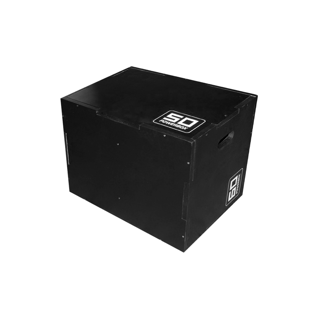 Plyo Box color black for box jumps, box push-ups, dips and step ups. Plyo Box 40 x 50 x 60cm, wooden plyo box dimensions.