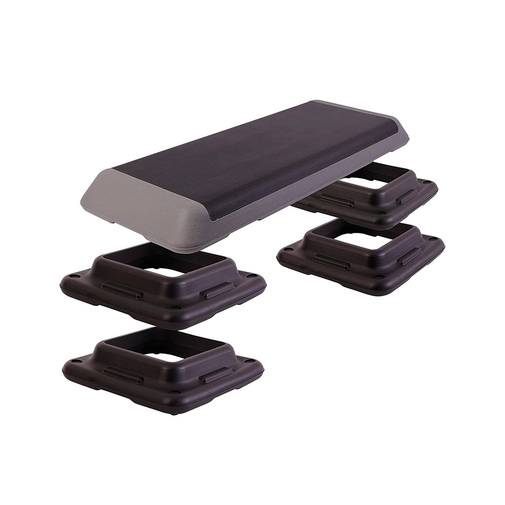 Aerobic Step color Black, Aerobic step color Grey. Aerobic Stepper for plyometric, aerobic and strength stepper platform. Fitness Step UK for cardio, aerobic step for body weight exercises, Les Mills step equipment,