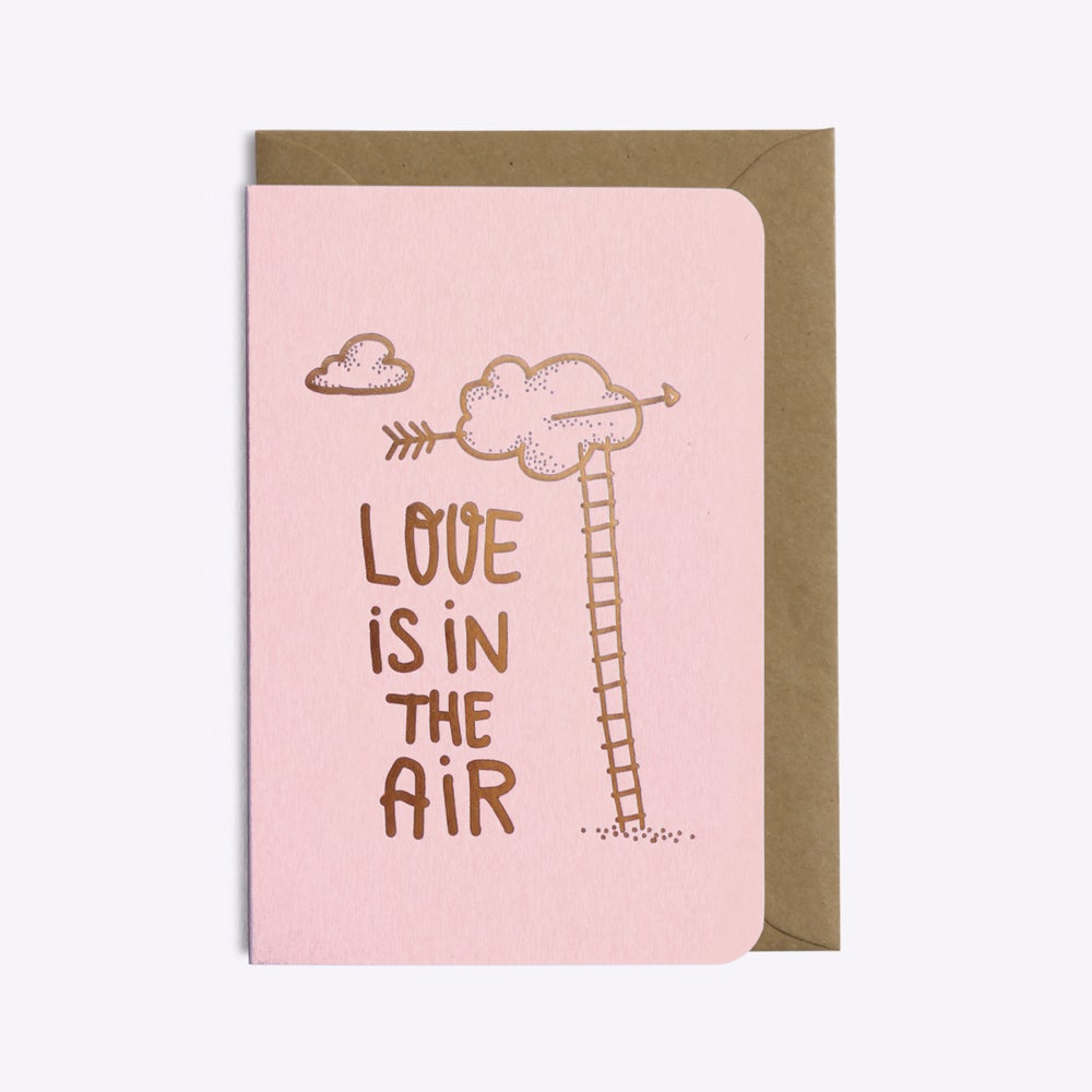 Carte double avec enveloppe - Love is in the air - Do you speak français ?