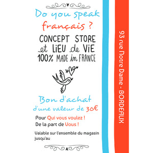Bon cadeau d'une valeur de 50€ - Do you speak français ?