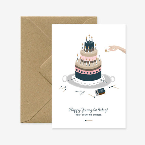 Carte double avec enveloppe - Happy young birthday - Do you speak français ?