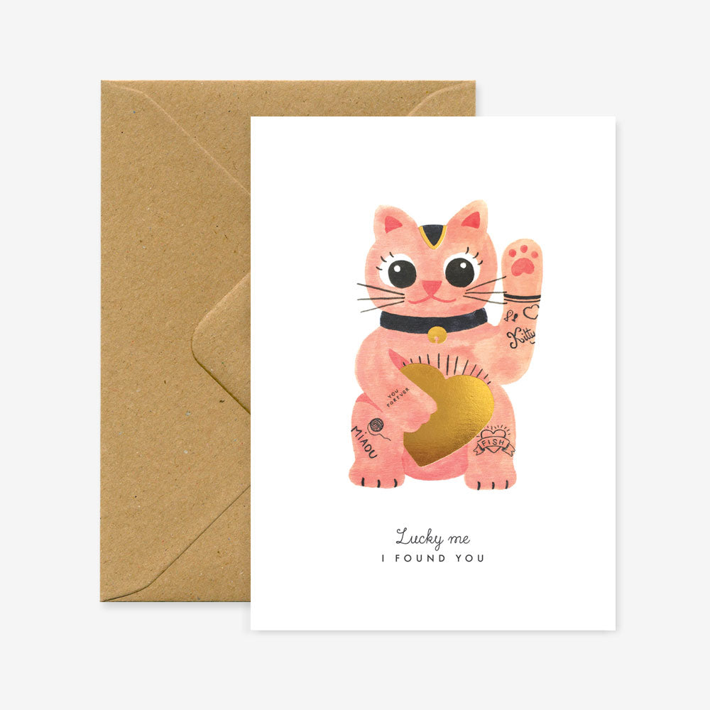 Carte double avec enveloppe - Lucky cat - Do you speak français ?