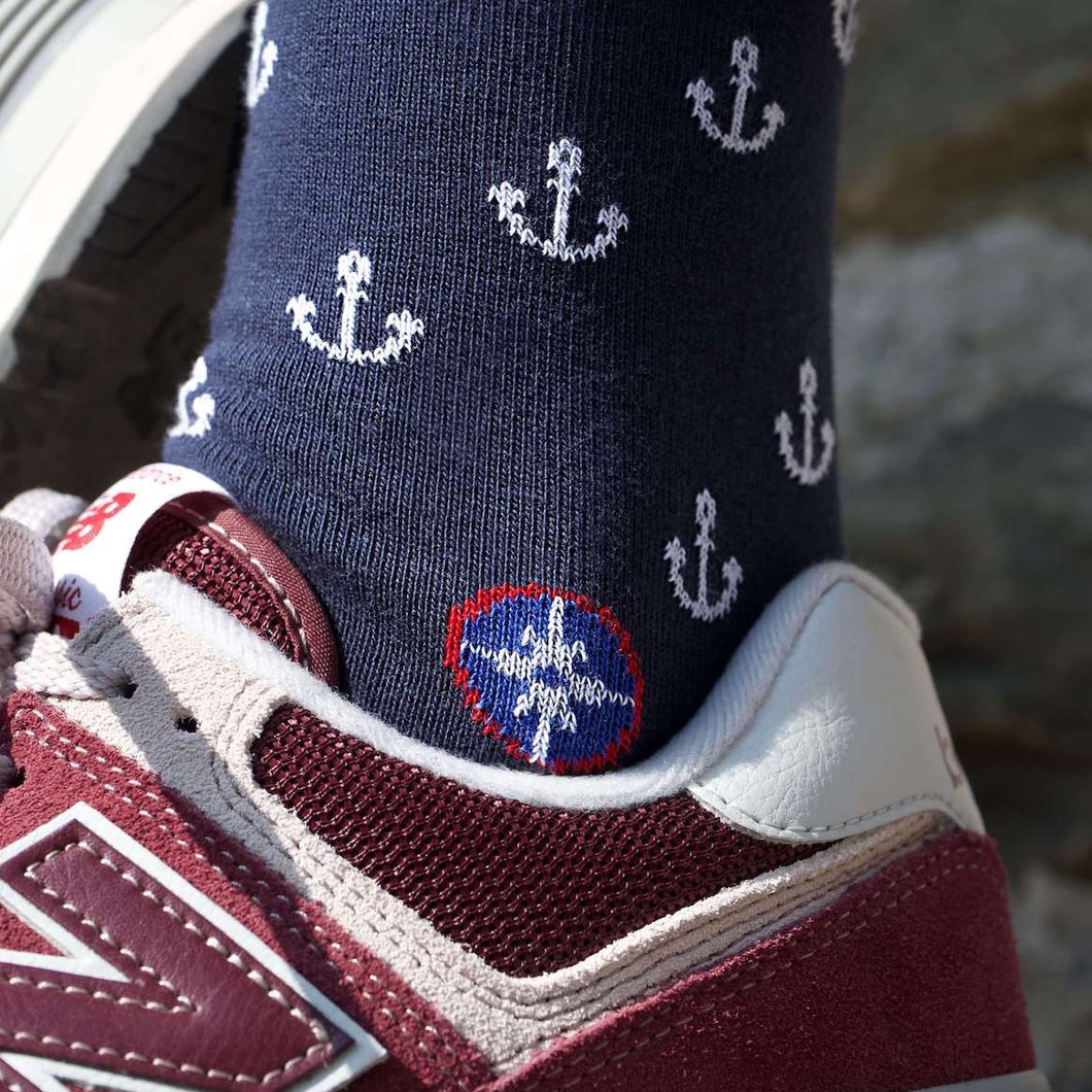 Chaussettes marine Ancres T42-46 - Do you speak français ?