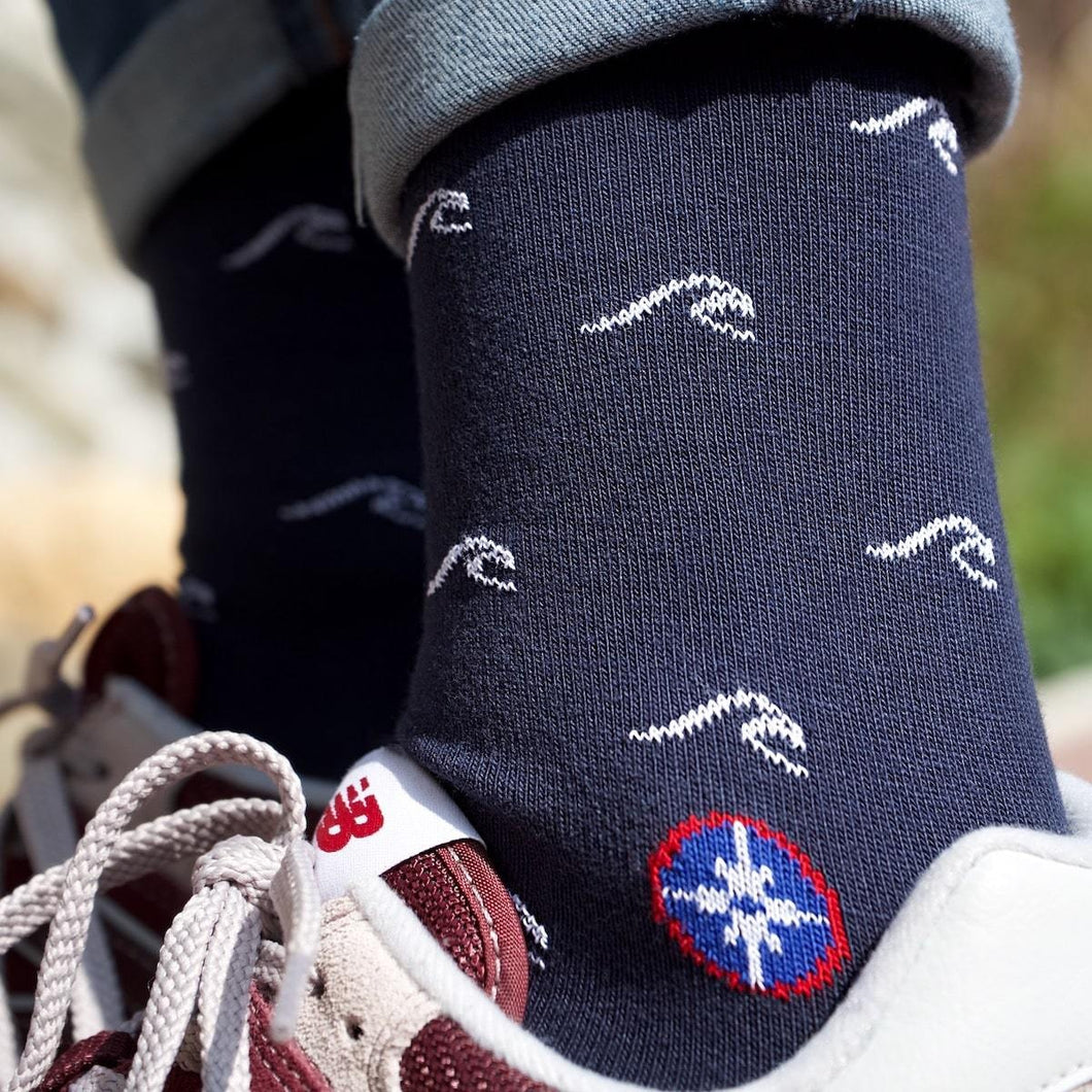 Chaussettes marine La vague T42-46 - Do you speak français ?