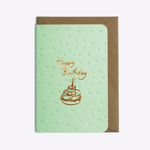 Carte double avec enveloppe - Happy birthday cake - Do you speak français ?