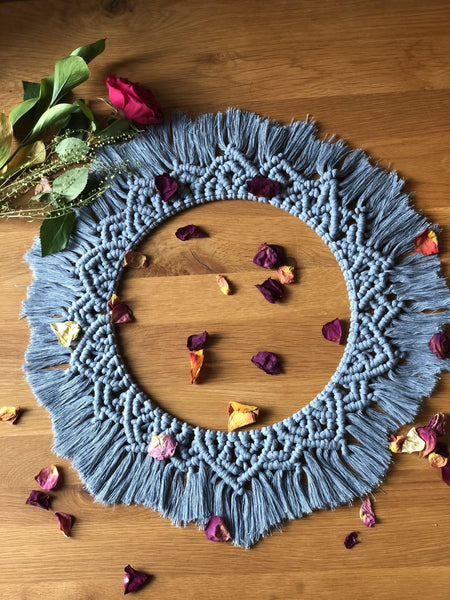 Macramé Wreath - Raw Denim - The Thread Shop