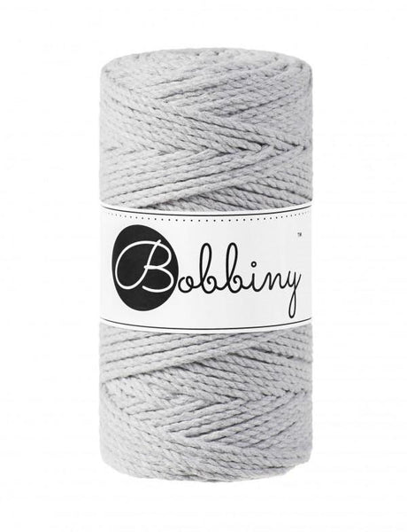 Light Grey 3PLY 3mm, 100m Bobbiny Macramé Cord - The Thread Shop