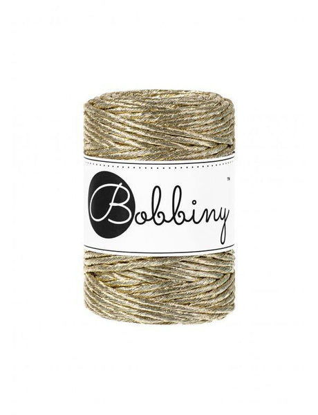 Metallic Gold 3mm, 50m Bobbiny Macramé Cord - The Thread Shop