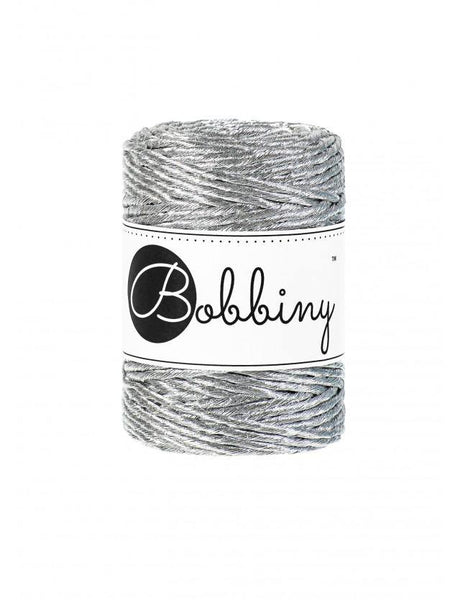 Metallic Silver 3mm, 50m Bobbiny Macramé Cord - The Thread Shop