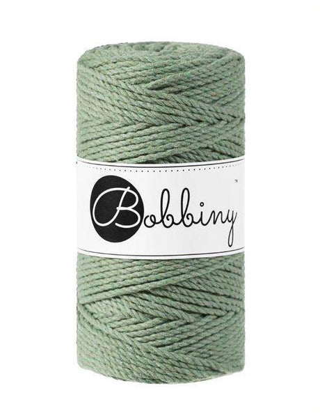 Eucalyptus Green 3PLY 3mm, 100m Bobbiny Macramé Cord - The Thread Shop