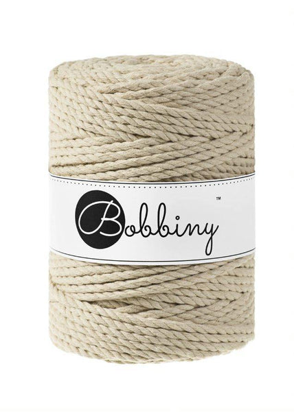 Beige 3PLY 5mm, 100m Bobbiny Macramé Cord - The Thread Shop