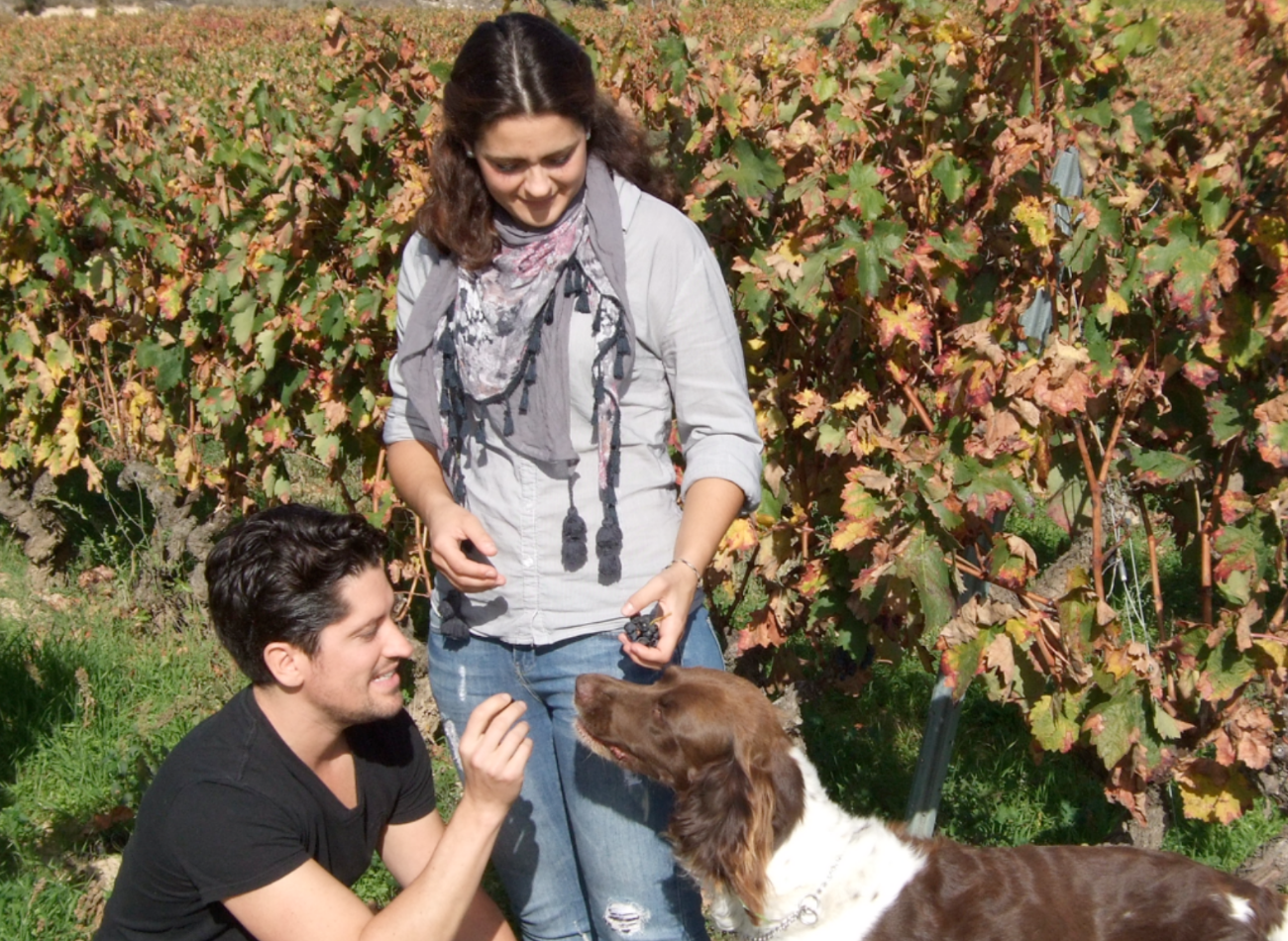 Sepp and Maria Muster in a biodiverse vineyard full of flowers and life