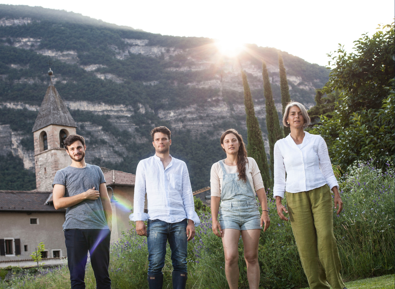 The Foradori family at their winery in the Dolomites