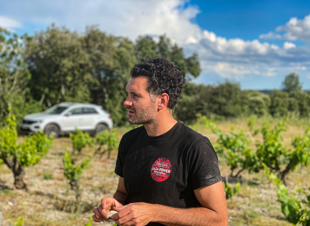 Victor Beau in the Languedoc with old vines in the background