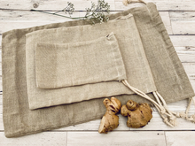 Load image into Gallery viewer, Natural Linen Produce Bags (3 pack)