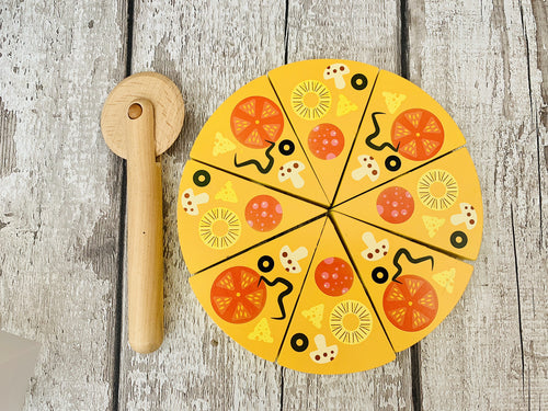 Wooden Pizza Box, Pizza and Cutter