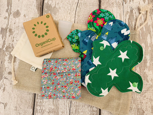 Reusable Menstrual Product Bundle - Cup and Cloth Pad (Heavy) Starter Kit (*Lucky Dip Prints)