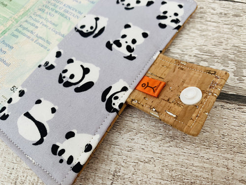 Panda Cork Leather Passport Holder