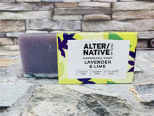 Load image into Gallery viewer, Lavender and Lime Natural Soap Bar