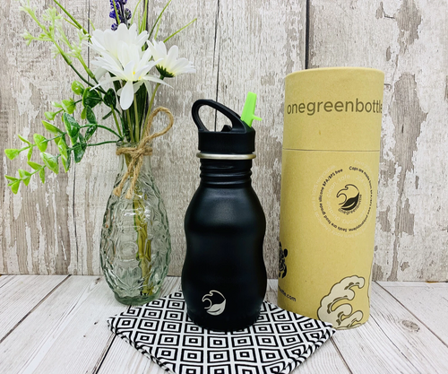 350ml Powder Black Scratch Resistant Water Bottle