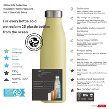 Load image into Gallery viewer, 500ml Vacuum Insulated Thermal Bottle - Lemon Sorbet