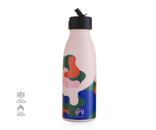 500ml Vacuum Insulated Thermal Bottle with Sports Cap - Pale Pink