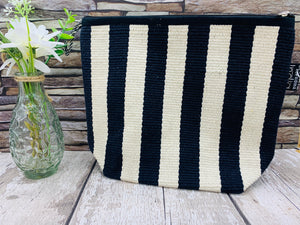 Large Cotton Cosmetic / Travel Bag - Black and White Stripes