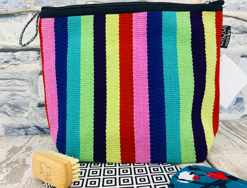 Large Cotton Cosmetic / Travel Bag - Rainbow Stripes