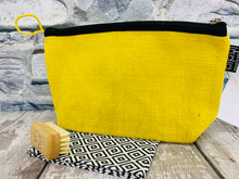 Load image into Gallery viewer, Medium Cotton Cosmetic / Travel Bag - Sunflower Yellow