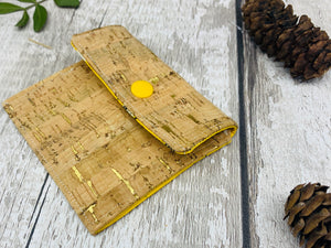 Cork Leather Coin Purse - Bumble Bee Print