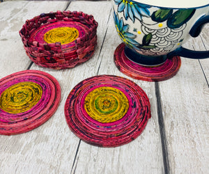 Recycled Newpaper Coasters and Holder (Set of 6)