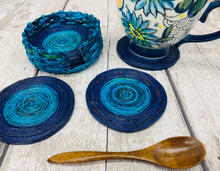 Load image into Gallery viewer, Recycled Newpaper Coasters and Holder (Set of 6)