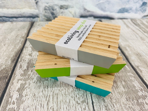 Handmade Wooden Soap Dish - (Turquoise / Lime / Cloud)
