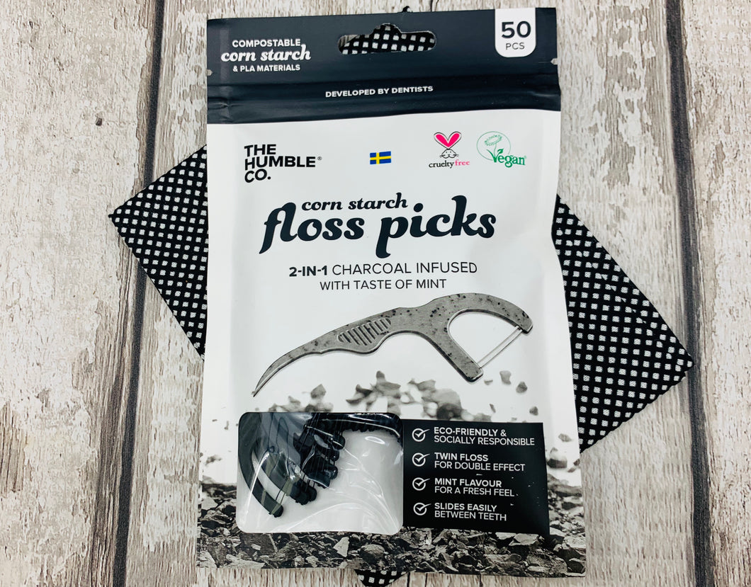 Cornstarch Floss Picks with Charcoal (50 pieces)
