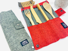 Load image into Gallery viewer, Bamboo Cutlery and Hessian Travel Pouch (Slate / Berry)