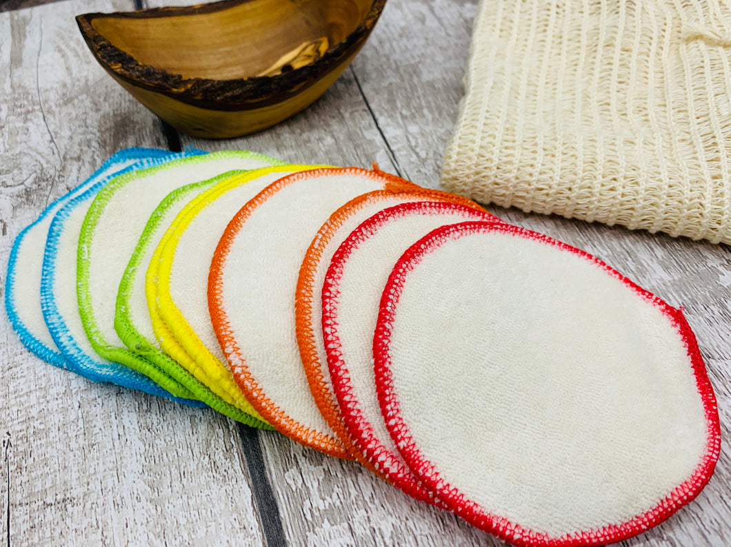 Organic Cotton Make Up Remover Pads x 10 with Wash Bag